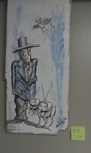 Photo of blue n white fantasy scarecrow painting at aka